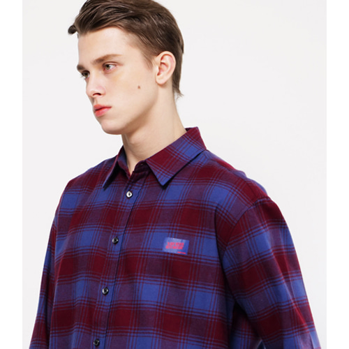 [Coquet Studio]Unisex Box Logo Purple Check Shirt