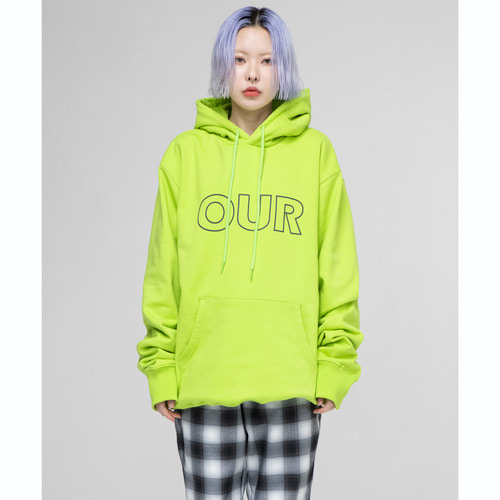 [OURHISTORY]OUR Logo Hood T-shirt_Neonlime