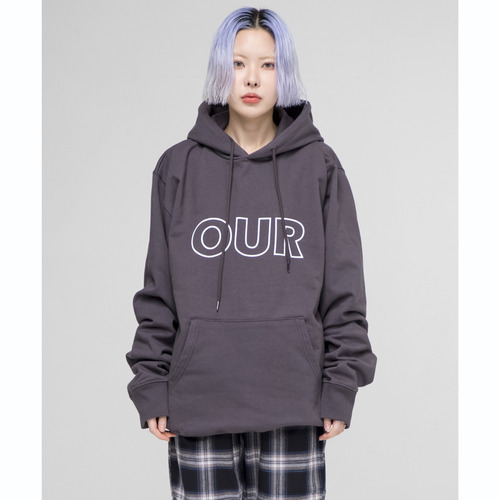 [OURHISTORY]OUR Logo Hood T-shirt_Charcoal