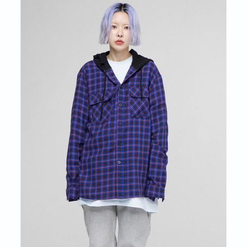 [OURHISTORY]ORS Hood Check Shirt_Blue