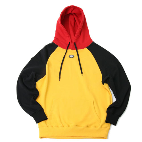 [2월28일예약발송][Double adrenaline syndrome] RAGLAN BLOCK HOODIE - YELLOW