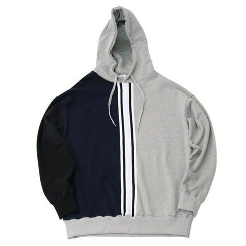 [2월28일예약발송][Double adrenaline syndrome] OLD SCHOOL TAPING HOODIE - GRAY