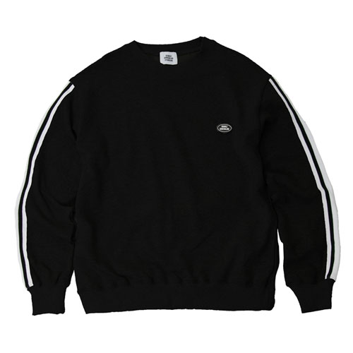 [2월28일예약발송][Double adrenaline syndrome] TAPING SLEEVE SWEATSHIRTS - BLACK