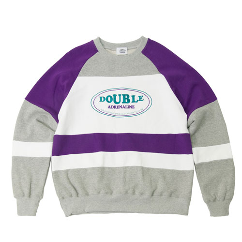 [2월28일예약발송][Double adrenaline syndrome] OLD SCHOOL BLOCK SWEATSHIRTS - GRAY