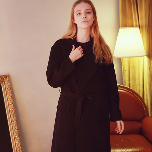 [언아웃핏]UNISEX MINIMAL ROBE COAT BLACK