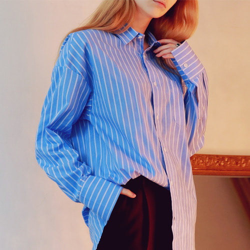 [언아웃핏]UNISEX OVERFIT SLIM STRIPE SHIRTS NAVY