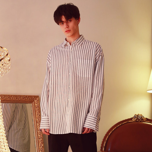 [언아웃핏]UNISEX OVERFIT SLIM STRIPE SHIRTS WHITE