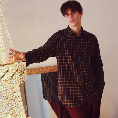 [언아웃핏]UNISEX SQUARE CHECK SEMIOVERFIT SHIRTS BLACK