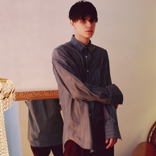 [언아웃핏]UNISEX WIDE STRIPE OVERFIT SHIRTS CHARCOAL