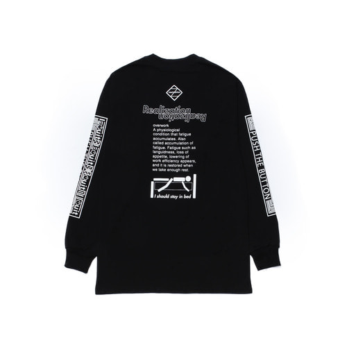 [Realization]Push The Button Long Sleeves T-Shirts-BLACK