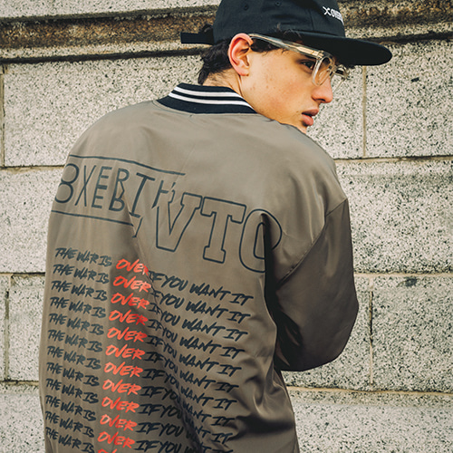 [OVERTHEONE]082 BACK LETTERING BOMBER JACKET