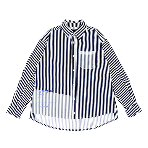 [RENDEZVOUZ] OPAQUE STRIPED SHIRTS NAVY