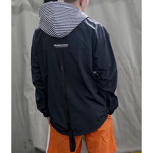 [RENDEZVOUZ] STRIPED HOOD ANORAK NAVY