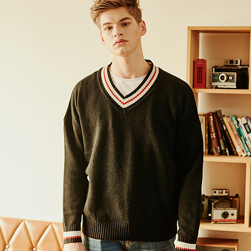 [CRUMP] Crump wool v-neck overfit knit (CT0120)