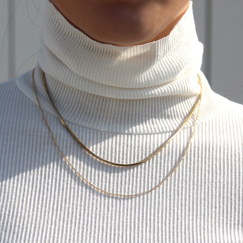 [RUSHOFF]Gold Two Point Chain Necklace /골드투포인트 체인목걸이