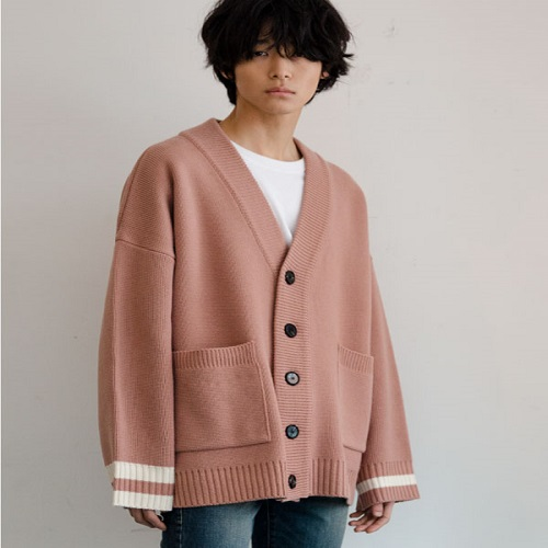 [NOT N NOT]NOT REAL OVER FIT HEAVY CARDIGAN - PINK