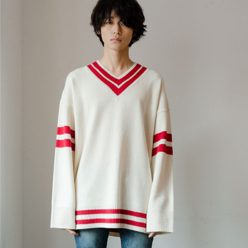 [NOT N NOT]NOT REAL OVERSIZE V-NECK KNIT - WHITE