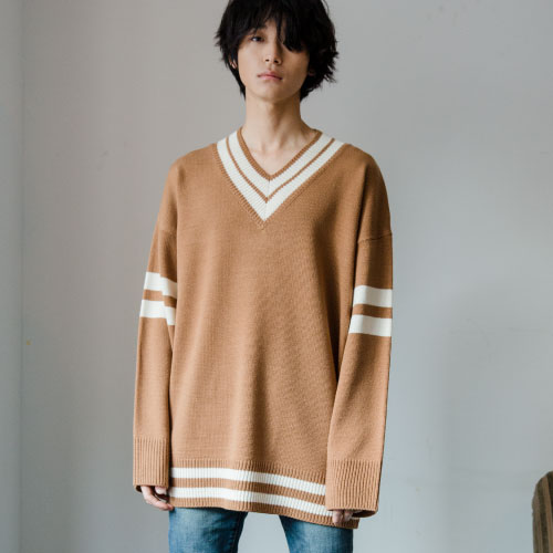 [NOT N NOT]NOT REAL OVERSIZE V-NECK KNIT - CAMEL