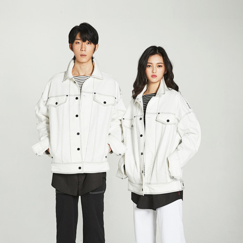 [Balancewood] embroidered oversized modern jaket (White)