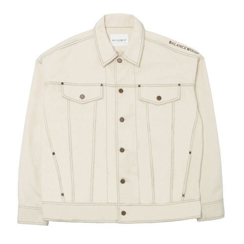 [Balancewood] embroidered oversized modern jaket (Light beige)