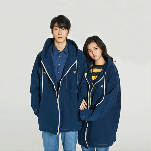 [Balancewood] Oxford hooded zip-up jaket (Navy)
