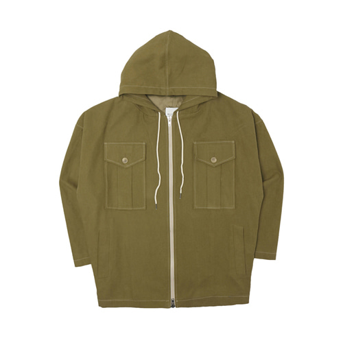 [Balancewood] Oxford hooded zip-up jaket (Dark yellow green)