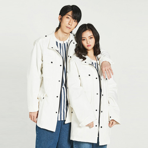[Balancewood] Coloration Button Field Jaket (White)