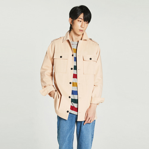 [Balancewood] incise point embroidery field shirt (peach)