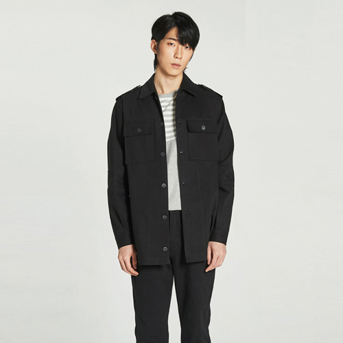 [Balancewood] incise point embroidery field shirt (Black)