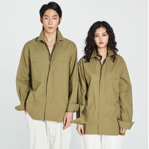 [Balancewood] Zipper point modern shirt (Khaki)