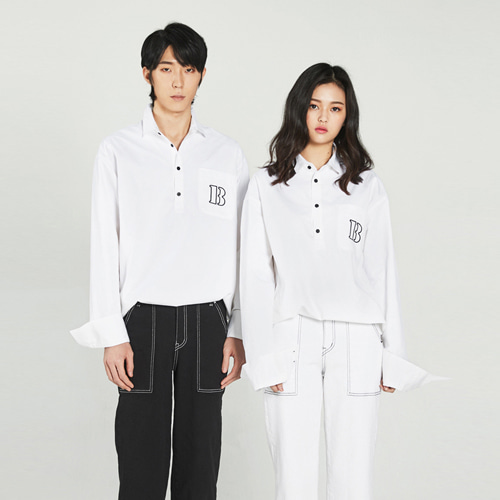 [Balancewood] Smart half button shirt (White)
