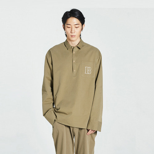 [Balancewood] Smart half button shirt (Khaki)