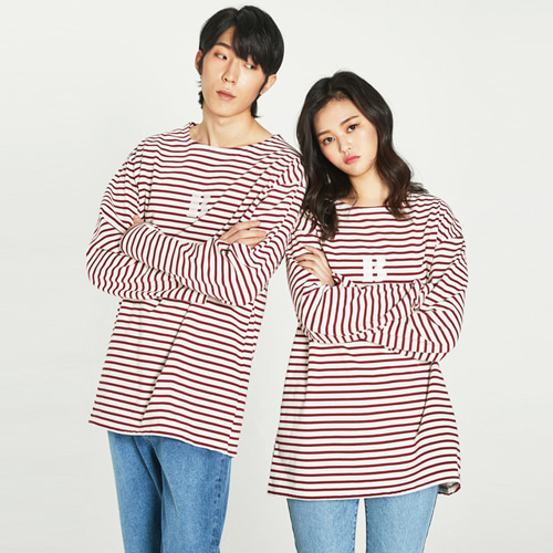 [Balancewood] Stripe embroidery point T-shirt (Red)