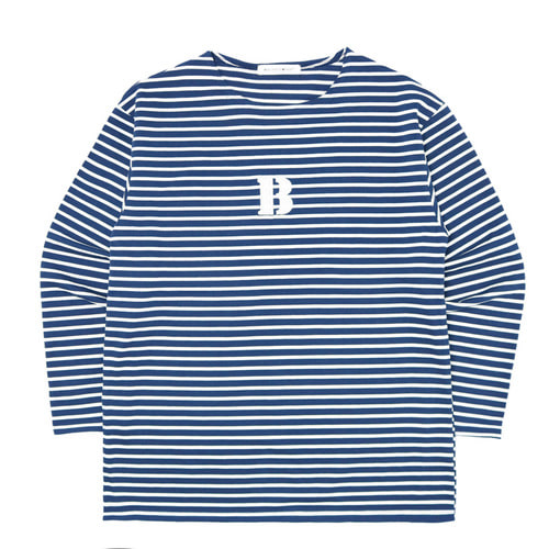 [Balancewood] Stripe embroidery point T-shirt (Navy)