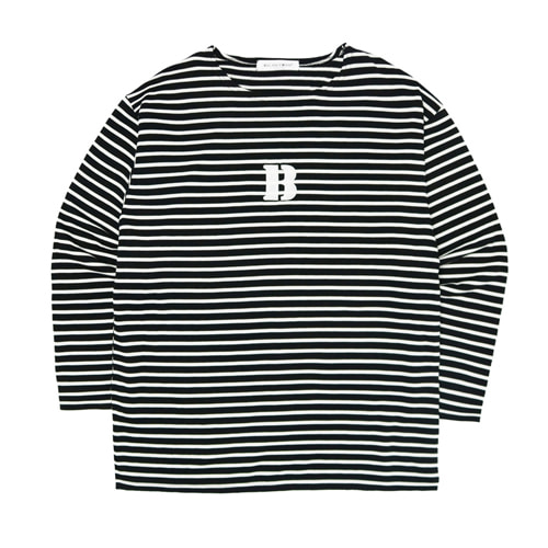 [Balancewood] Stripe embroidery point T-shirt (Black)