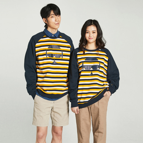 [Balancewood] Oversized Stripe Sweatshirt (Yellow)