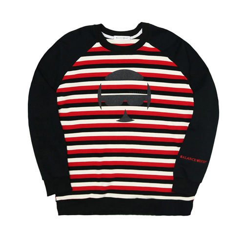 [Balancewood] Oversized Stripe Sweatshirt (Red)