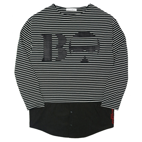 [Balancewood] Shirt Mixed Stripe T-shirt (Black)