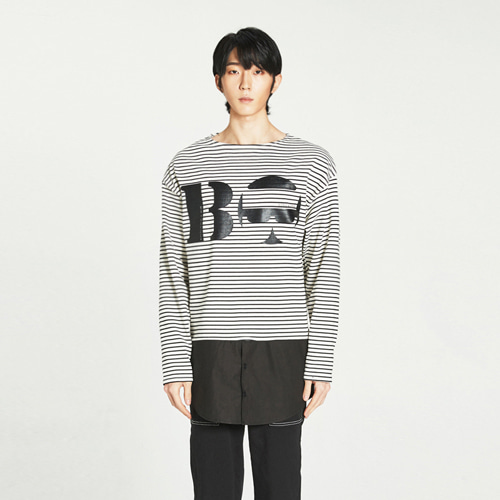 [Balancewood] Shirt Mixed Stripe T-shirt (White)
