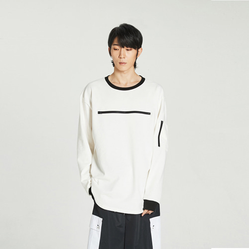 [Balancewood] Zipper point sweatshirt (White)