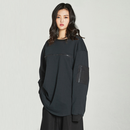 [Balancewood] Zipper point sweatshirt (Black)