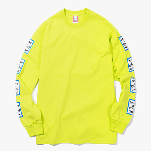 [Have a good time] Arm Blue Frame L/S Tee - Lime