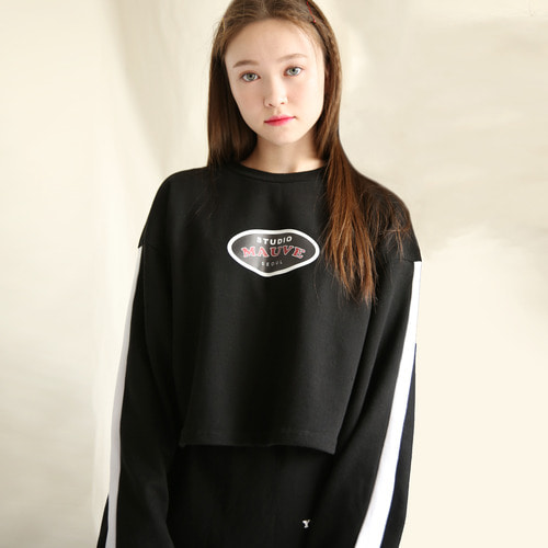[MAUVE] LINE LOGO CROP T SHIRTS (black)