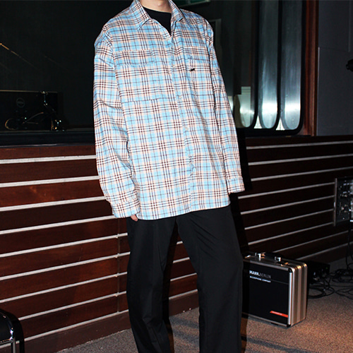 [RADIOS] Check Flap Shirt Track.4 - Blue