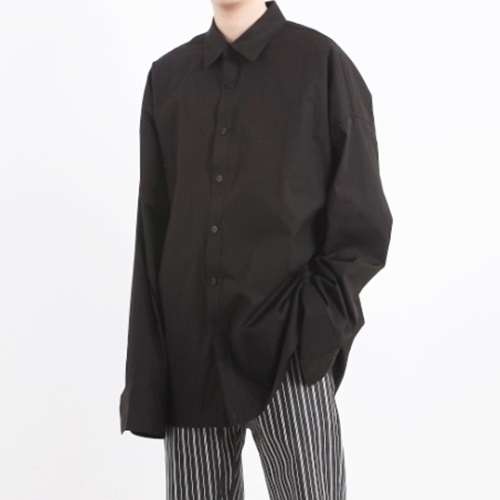 [Nar_Yoke] Overfit Layerd Shirt - Black