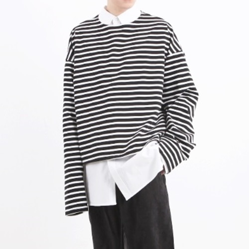 [Nar_Yoke] Overfit Crop Long Sleeve - Black Stripe