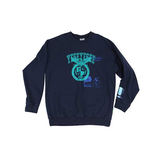 [YESEYESEE] Y.E.S Schooler Crewneck Navy