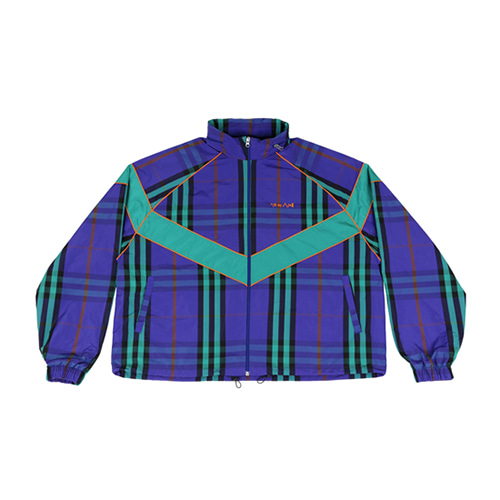 [AJOBYAJO] MIXED CHECK WINDBREAKER - PURPLE