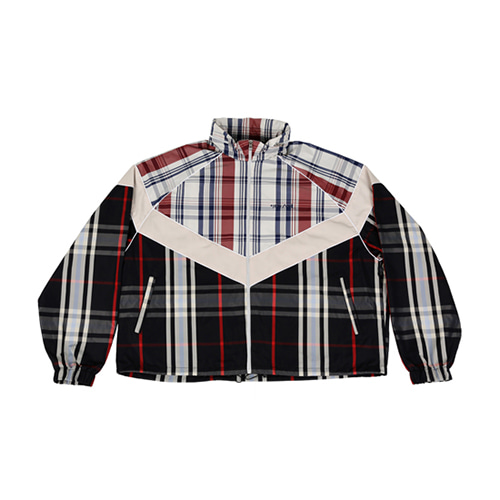 [AJOBYAJO] MIXED CHECK WINDBREAKER - NAVY