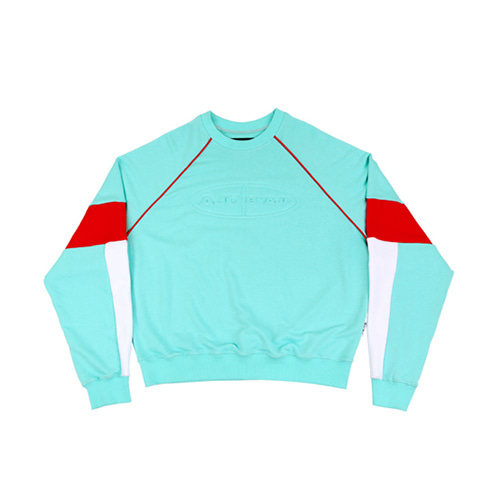 [AJOBYAJO] TRI COLOR SWEATSHIRT - MINT